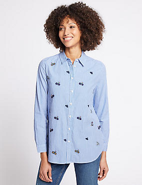 Pure Cotton Embroidered Long Sleeve Shirt , BLUE MIX, catlanding