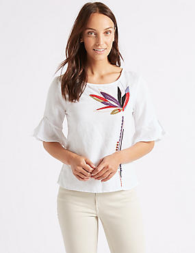 Linen Rich Embroidered 3/4 Sleeve Blouse , IVORY MIX, catlanding