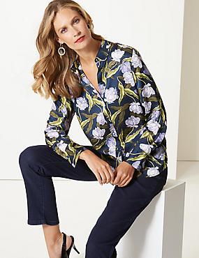 Floral Print Satin Long Sleeve Shirt , NAVY MIX, catlanding