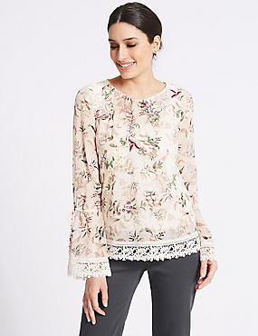 Floral Print Mesh Lace Long Sleeve Blouse