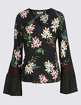 Floral Print Flared Sleeve Blouse