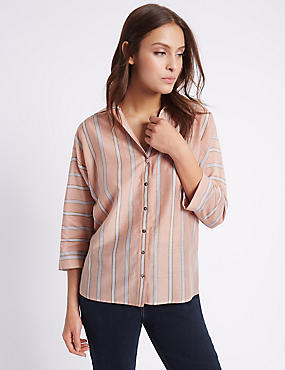 Cotton Silk Split back Shirt