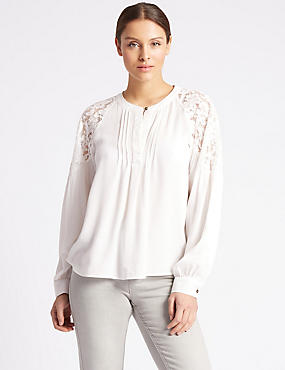 Dobby Lace Pleated Long Sleeve Blouse