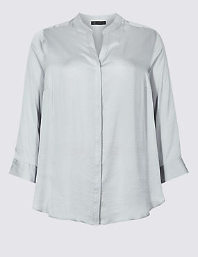 CURVE Satin Notch Neck 3/4 Sleeve Blouse , SILVER, catlanding