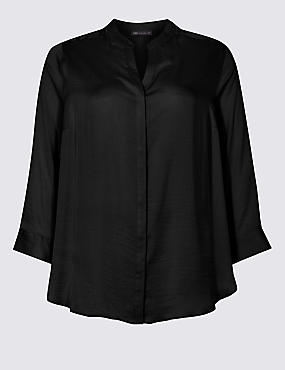 CURVE Satin Notch Neck 3/4 Sleeve Blouse , BLACK, catlanding