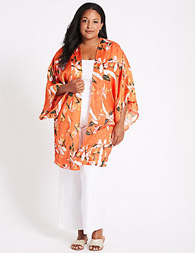 CURVE Floral Print 3/4 Sleeve Kimono Top , ORANGE MIX, catlanding