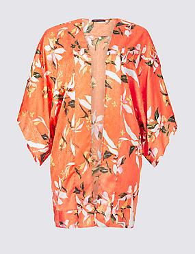 CURVE Floral Print 3/4 Sleeve Kimono Top , ORANGE MIX, catlanding