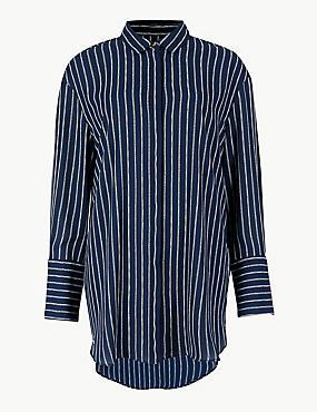 Striped Long Sleeve Shirt , NAVY MIX, catlanding