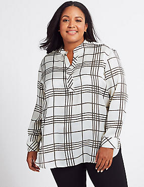 CURVE Checked Long Sleeve Blouse , IVORY MIX, catlanding