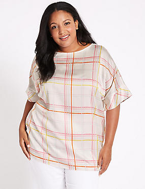 CURVE Checked Short Sleeve Blouse , WHITE MIX, catlanding