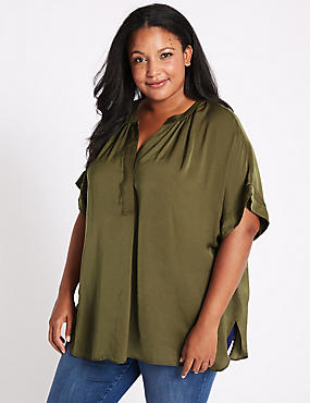CURVE Popover Notch Neck Half Sleeve Blouse, DARK OLIVE, catlanding