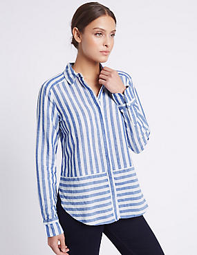 Linen Rich Contrasting Striped Shirt