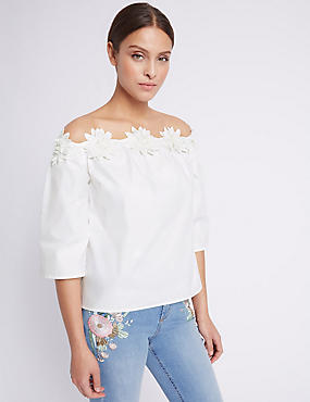 Pure Cotton Floral Bardot Shell Top
