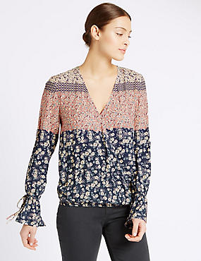 Ditsy Print Wrap V-Neck Blouse