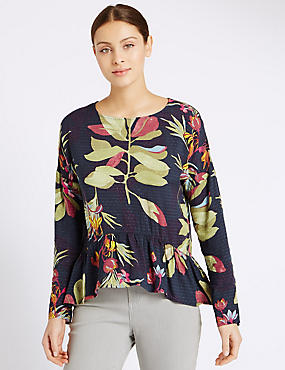 Tropical Print Peplum Blouse