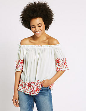 Embroidered 3/4 Sleeve Bardot Top