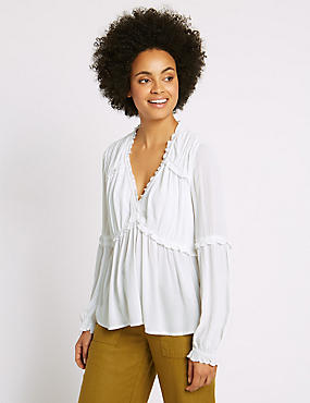 Crinkle Ruffle V-Neck Long Sleeve Blouse