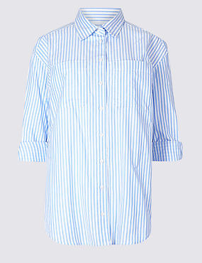 PETITE Pure Cotton Striped Long Sleeve Shirt, LIGHT BLUE MIX, catlanding