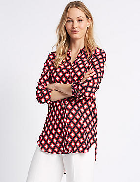 Geometric Print Long Sleeve Blouse