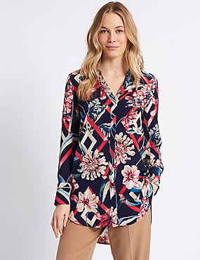 Floral Print Longline Long Sleeve Shell Top , NAVY MIX, catlanding