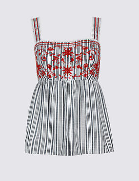 Pure Cotton Striped Embroidered Vest Top