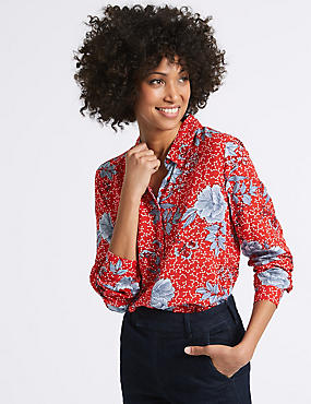 Pure Modal Floral Print Long Sleeve Shirt, RED MIX, catlanding