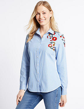 Cotton Rich Striped Embroidered Shirt