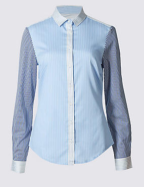 Cotton Rich Striped Fuller Bust Shirt