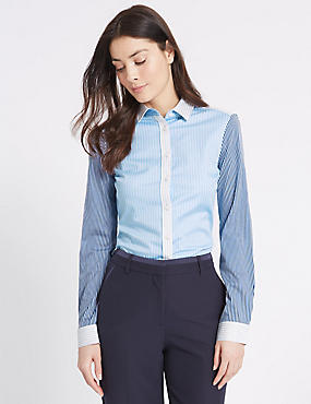 Cotton Rich Contrasting Sleeve Shirt
