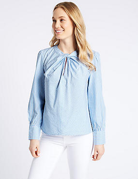 Pure Cotton Striped Twist Front Blouse, BLUE MIX, catlanding