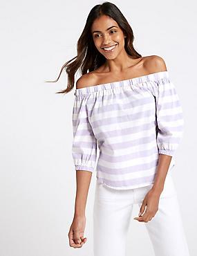 Pure Cotton Striped 3/4 Sleeve Bardot Top , PURPLE MIX, catlanding
