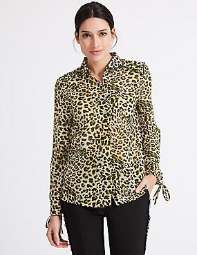 Animal Print Ruffle Long Sleeve Shirt