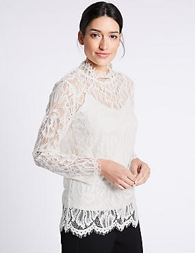 Cotton Blend Lace Long Sleeve Blouse