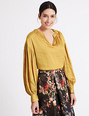Gathered Bubble Sleeve Notch Neck Blouse
