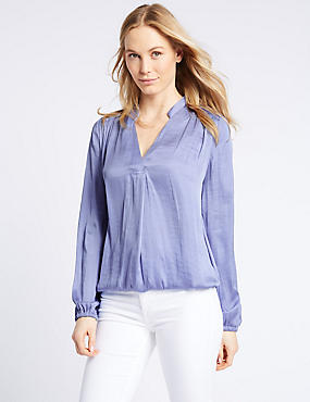 Satin Notch Neck Popover Long Sleeve Blouse, NAVY, catlanding