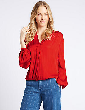 Satin Notch Neck Popover Long Sleeve Blouse, POPPY, catlanding