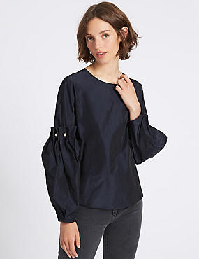 Round Neck Bubble Sleeve Shell Top