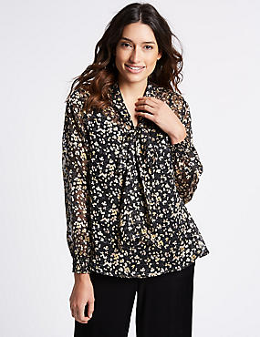 Animal Print Notch Neck Long Sleeve Blouse