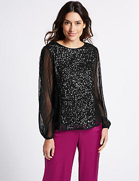 Sequin Front Round Neck Long Sleeve Blouse