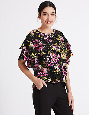 Floral Print Ruffle Sleeve Shell Top