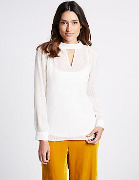 Round Neck Long Sleeve Blouse