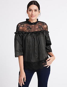 Cotton Rich Lurex Mesh Funnel Neck Blouse