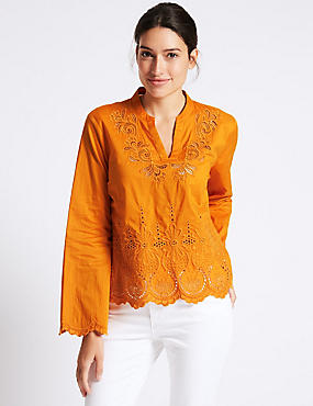 Pure Cotton Cutwork Bell Sleeve Blouse