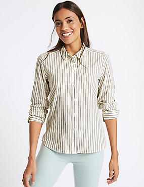 Pure Cotton Authentic Striped Shirt, IVORY MIX, catlanding