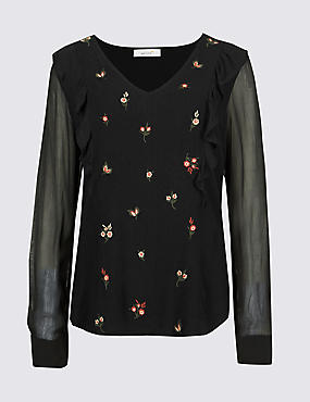 Embroidered V-Neck Long Sleeve Blouse