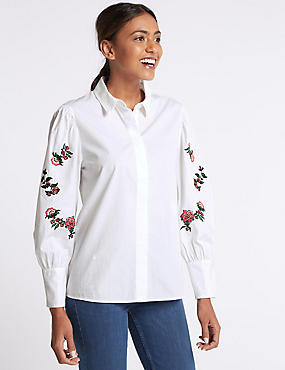 Pure Cotton Floral Embroidered Sleeve Shirt, WHITE MIX, catlanding