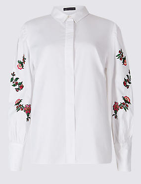 Pure Cotton Floral Embroidered Sleeve Shirt