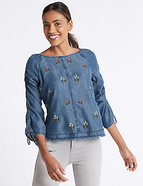 Embroidered Slash Neck 3/4 Sleeve Blouse, DENIM MIX, catlanding