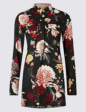 Printed Longline Long Sleeve Shirt