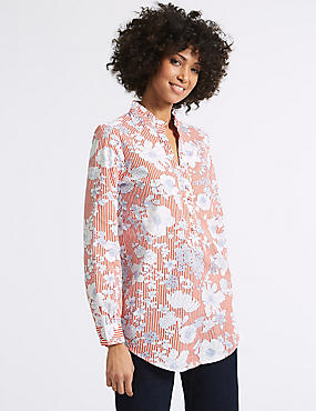 Pure Cotton Floral Print Longline Blouse